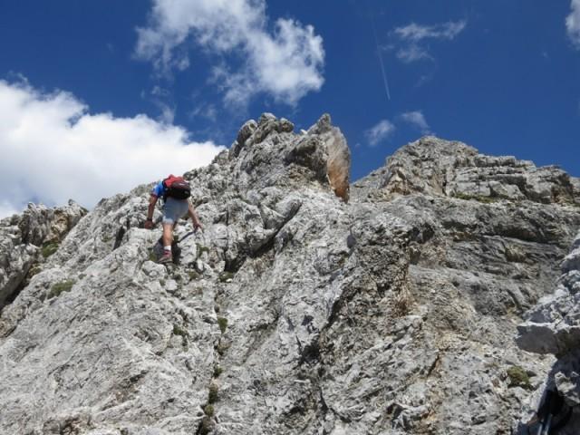 leichtes Klettergelände wie der Anstieg auf den Kleinen Lafatscher