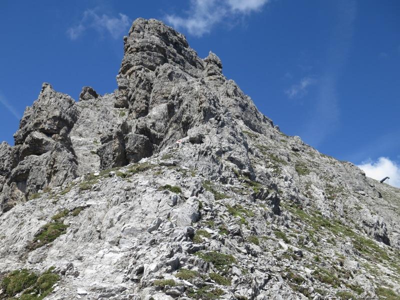 Felsaufschwung vor dem Gipfel der Großen Ochsenwand