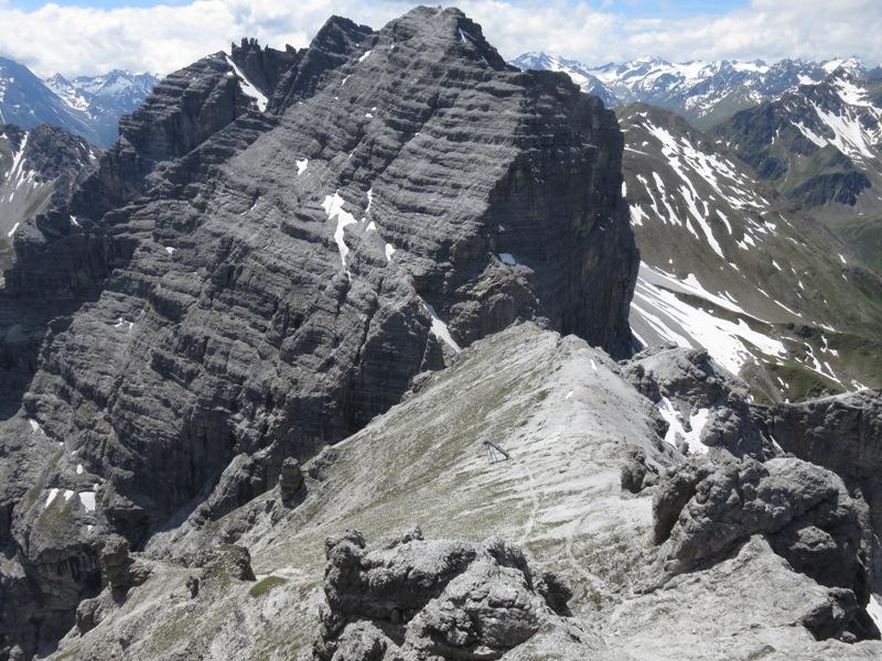 Aussicht von der Großen Ochsenwand nach Südsüdwesten zur Riepenwand und der Schlicker Seespitze
