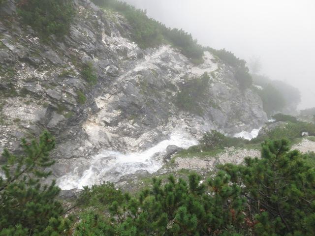 Der Sturzbach kreuzt den Steig (aber harmlos zu begehen)