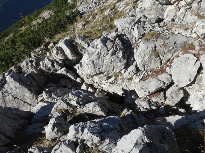 geologische Trennstelle, hinten links eine Schneehöhenstange bereits für den Winter gerichtet