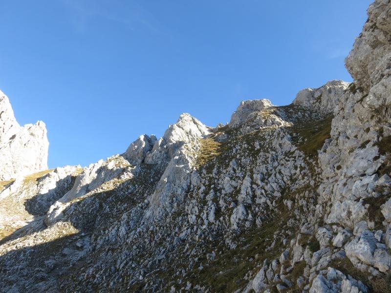 am Gipfelaufbau der Fiechterspitze; rechts Partnach-Schichten, links hoch aufragend Wettersteinkalk der Fiechterspitze