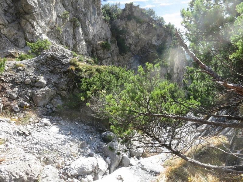 Schlucht im Rückblick am gegenüberliegenden Aufstieg zur Hütte