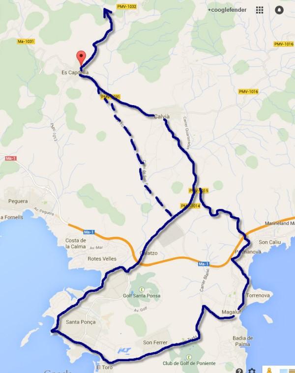 Montainbikestrecke von Magaluf bis zur Abzweigung nach Es Capdellà
