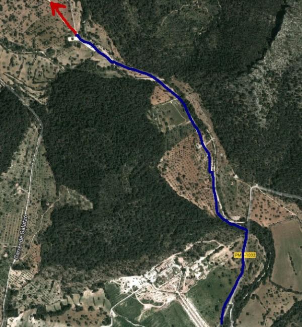 Ende der Mountainbikestrecke beim Vorgehöft der Finca