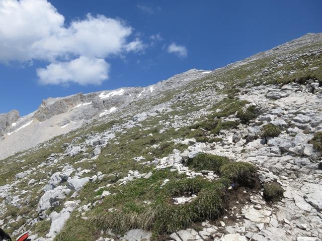 Steigverlauf am breiten Rücken der Pleisenspitze