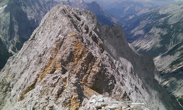 Rückblick auf den Grat von Gamskarspitze bis Brantlspitze