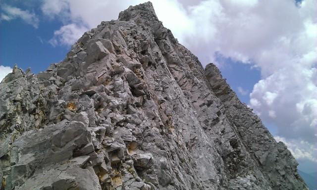 letzter großer Grataufschwung vor dem Gipfel der Brantlspitze