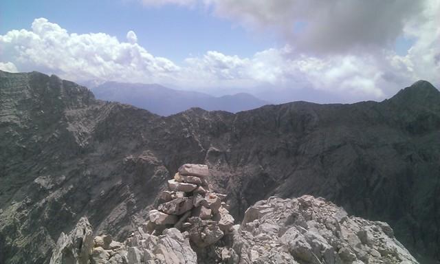 Am Gipfel der Gamskarspitze, Blick zum Grat Speckkarspitze - Kleiner Bettelwurf