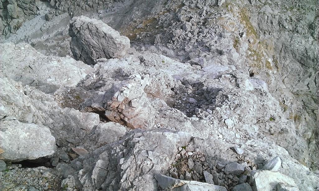 Rückblick auf die III- Stelle oberhalb des ersten Risses (oder lt. Führer Kamin)