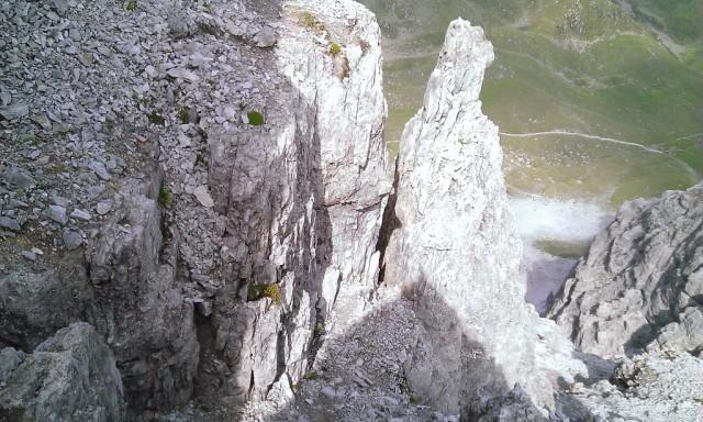 oberhalb des oberen Kamines