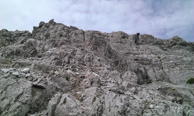 Abstieg ca. auf 2.600m beim Geröllband angelangt; Rückblick auf die Abstiegsroute