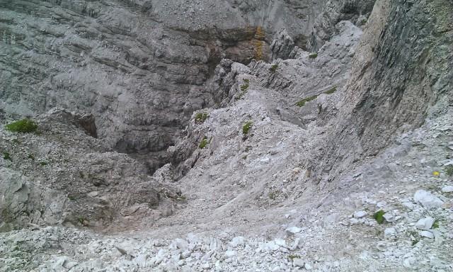 das im Führer beschriebene Geröllband auf ca. 2.600m