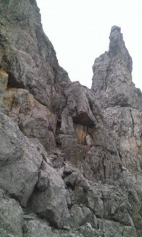 Riß mit Übergangsscharte zum Normalweg auf die Schlicker Seespitze