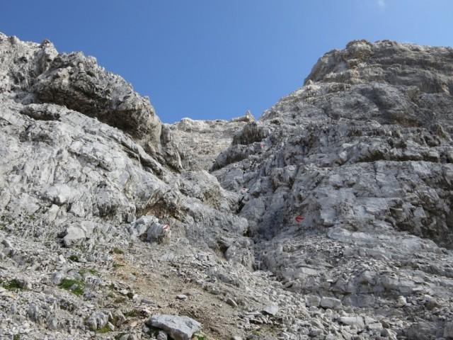 die Rinne ca, 200m unterhalb des Gipfels