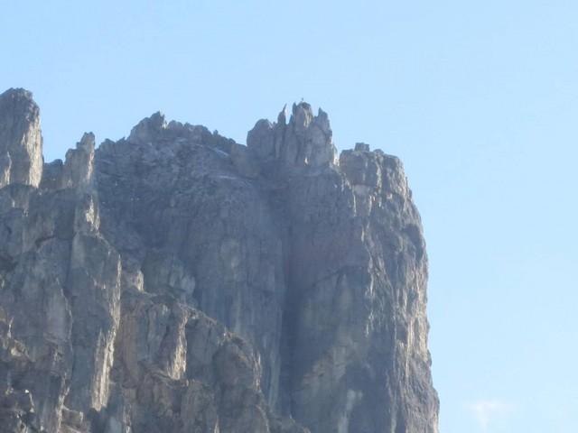 der Nördliche Elferturm im Zoom von der Elferhütte aus gesehen