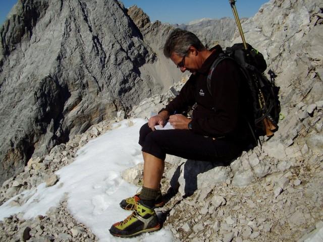 klamme Finger beim Gipfelbucheintrag