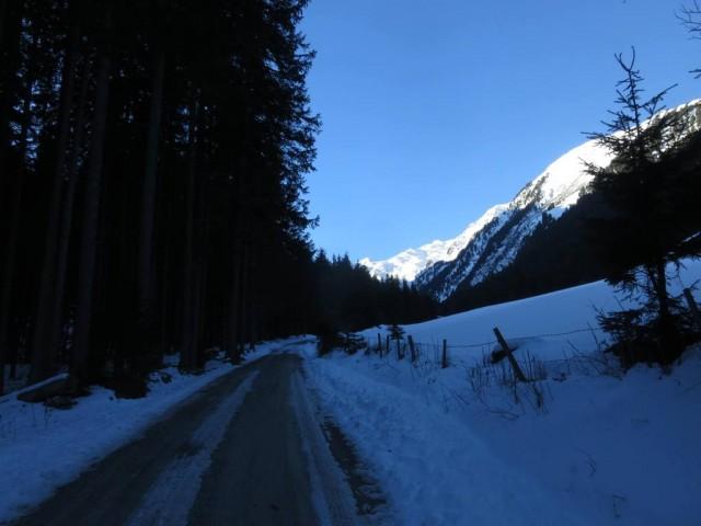 Weg zur Voldertalhütte noch gefroren, gut zum Gehen (Schi am Rucksack), keine Wolke am Himmel