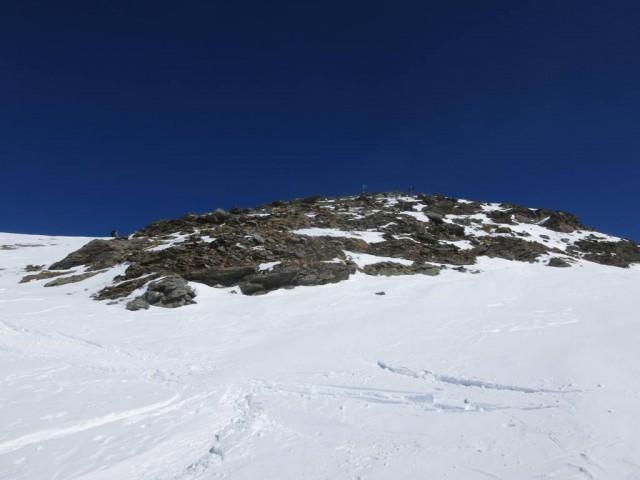 ca. 100m unterhalb des Gipfels bei der Abfahrt