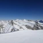 am Gipfel angelangt das zentrale Karwendel mit Riedelkarspitze, Breitgrießkar- und Seekarspitze