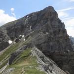 Rückblick auf die wasenwandspitze; kein weiterer Steig am Grat möglich