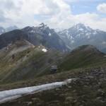Rückblick auf die Tour, ganz hinten majestätisch die Kirchdachspitze
