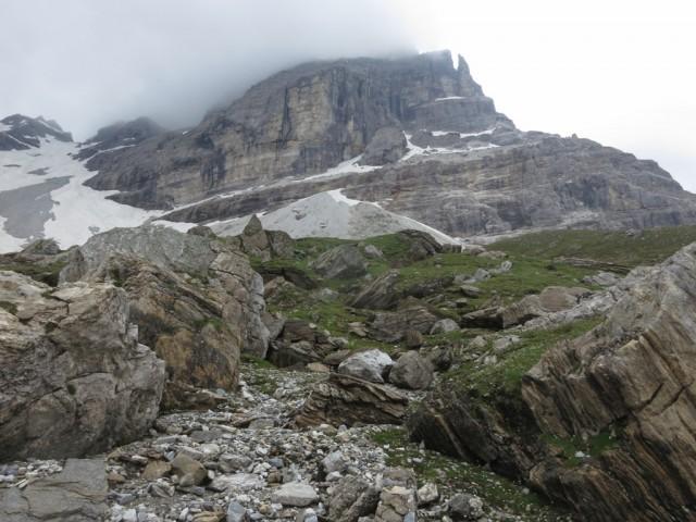 Bergsturzblockwerk am Steig, mit Blick in die Sturzrichtung