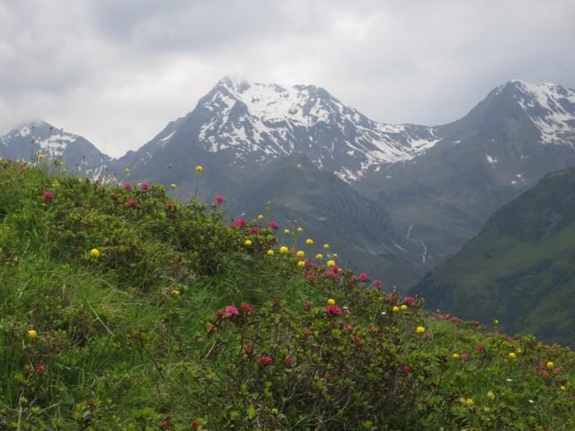 herrlicher Blick zu innerer und äußerer Wetterspitze und rechts zur südlichen Rötenspitze