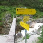 Wegabzweigung zur Lamsenhütte durch das Zwerchloch