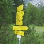 Abzweigung über die Birkkarscharte zum Karwendelhaus