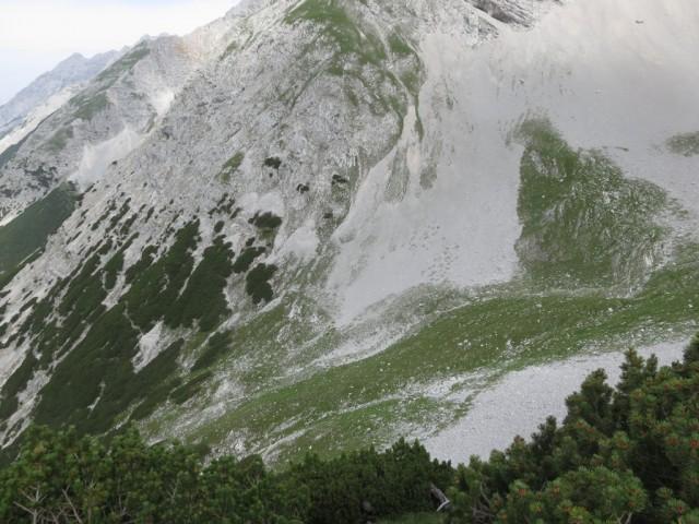 der Steig vom Kaskar in das Praxmarerkar mit Höhenunterschied