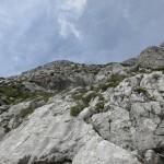 im unteren Schrofengelände; Aufstieg ist nicht schwierig, leichte Kletterei auf Fels- und Rasenstufen