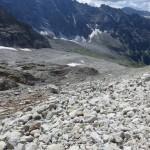 die gewaltige Breite des ehemaligen Gletschers bis zur Nordwand des Fusssteines