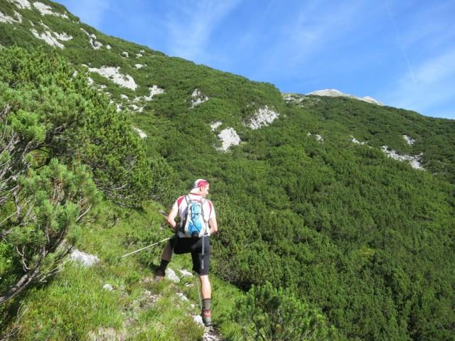 Simon im Steig nach ca. 2/3 der Aufstiegshöhe