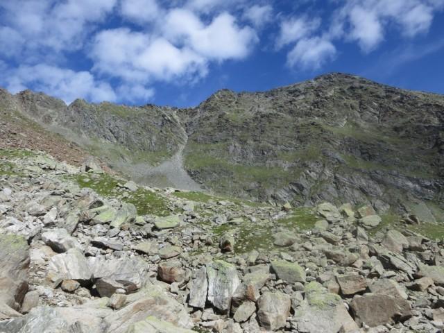 am Rücken mit dem Wegweiser; rechts von der Rinne der Aufstieg zur Östlichen Knotenspitze