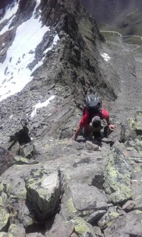 Aufstieg am Südgrat zur Falbesoner Knotenspitze