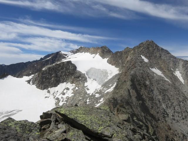 Gipfel im westliche Teil des Kammes; von Alpeiner Knotenspitze bis Östliche Seespitze