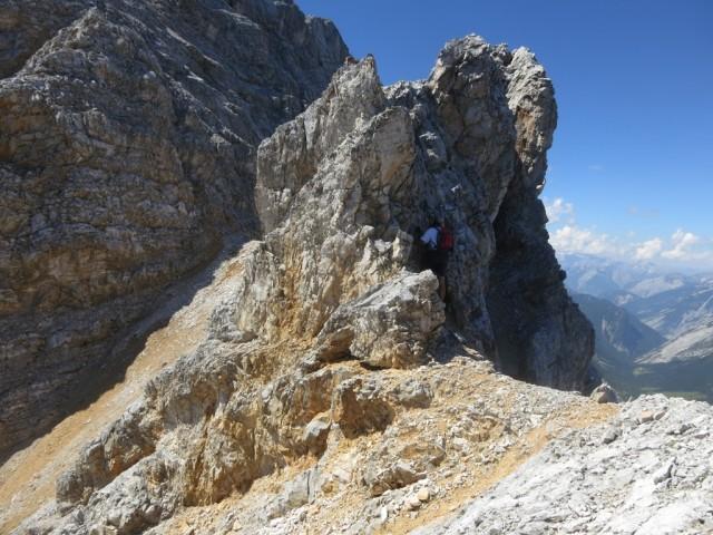 letzter Aufschwung am Grat in den Fallbachkartürmen  vor Pkt. 2.625m