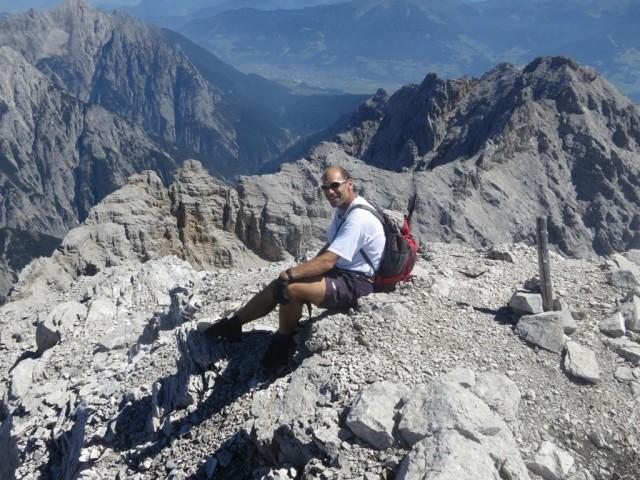 Die Fallbachkartürme, Rückblick vom Osteck des Großen Bettelwurf