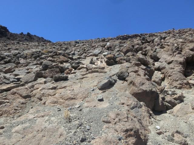 das steilste Stück im Abstieg von der Hütte, der Steig führt in Sepentinen empor