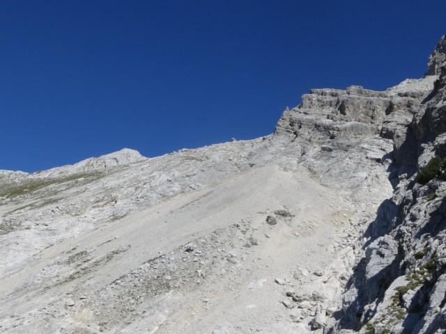 Blick zum Aufstieg zur Südwestflanke des Kleinen Bettelwurf