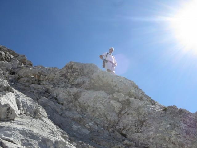 Andi am oberen Ende einer Steilstufe