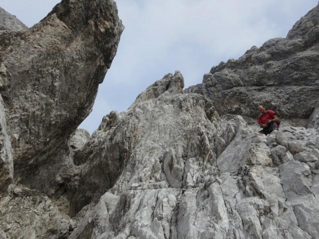 Kletterstelle am Südgrat zur Westlichen Praxmarerkarspitze