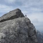 Andi lichtet die Praxmarerkar Nordwand ab; ein einziger weiterer Bergsteiger war heute mit und auf der Östlichen Praxmarerkarspitze