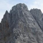 mächtige Steilflanke der Kaskarspitze als letzte Herausforderung der Gratüberschreitung
