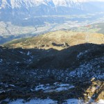 der Tag geht langsam zu Ende; 1.500m Abstieg zum Parkplatz liegen vor uns