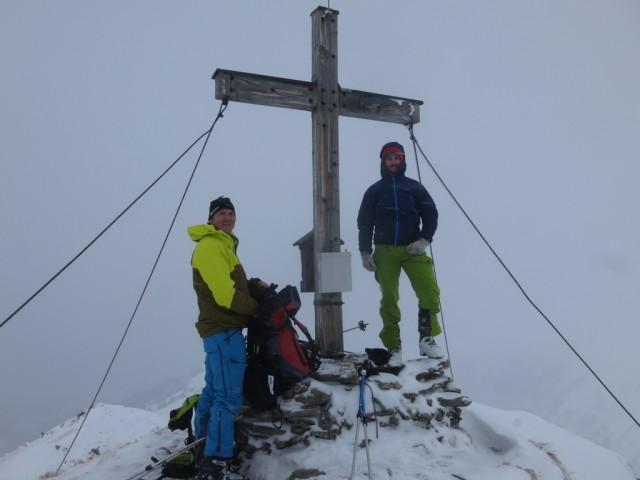 Stefan und Christian am Gipfel des Hohen Kopf, 2.373m