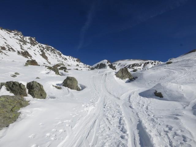 Aufstieg in westliche Richtung auf die Scharte zwischen Grafmatspitze und Grünbergspitze
