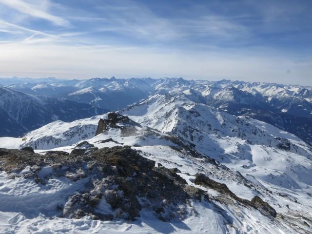 Blick nach Westen zu Seeblesspitze und Pfoner Kreuzjöchl