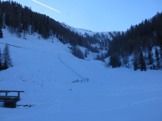 Steilstufe zum Hochleger, kaum sichtbar oberhalb der Waldgrenze